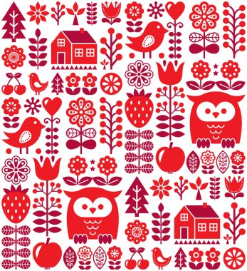 Scandinavian seamless pattern - red Finnish folk art, Nordic style