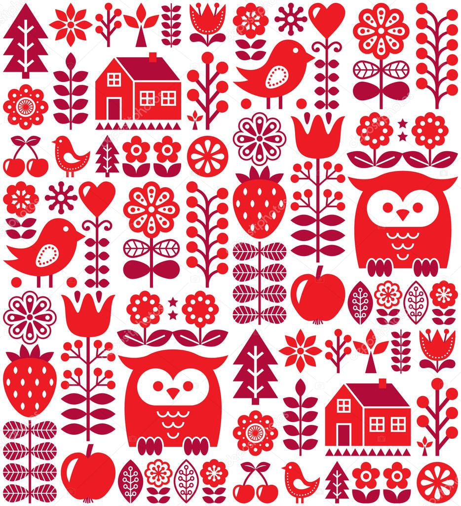 Scandinavian seamless pattern - red Finnish folk art, Nordic style