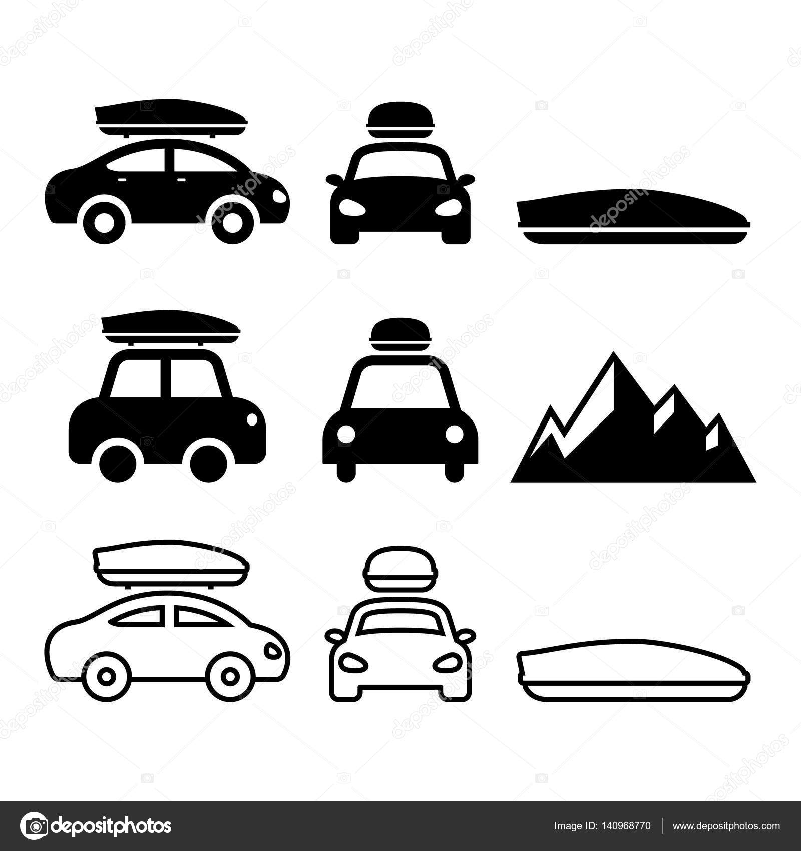 auto dachbox dachtr ger oder tr ger vektor icons set. Black Bedroom Furniture Sets. Home Design Ideas