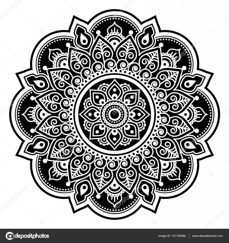 mandala ontwerp mehndi indiase henna tattoo ronde patroon of achtergrond stockvector. Black Bedroom Furniture Sets. Home Design Ideas