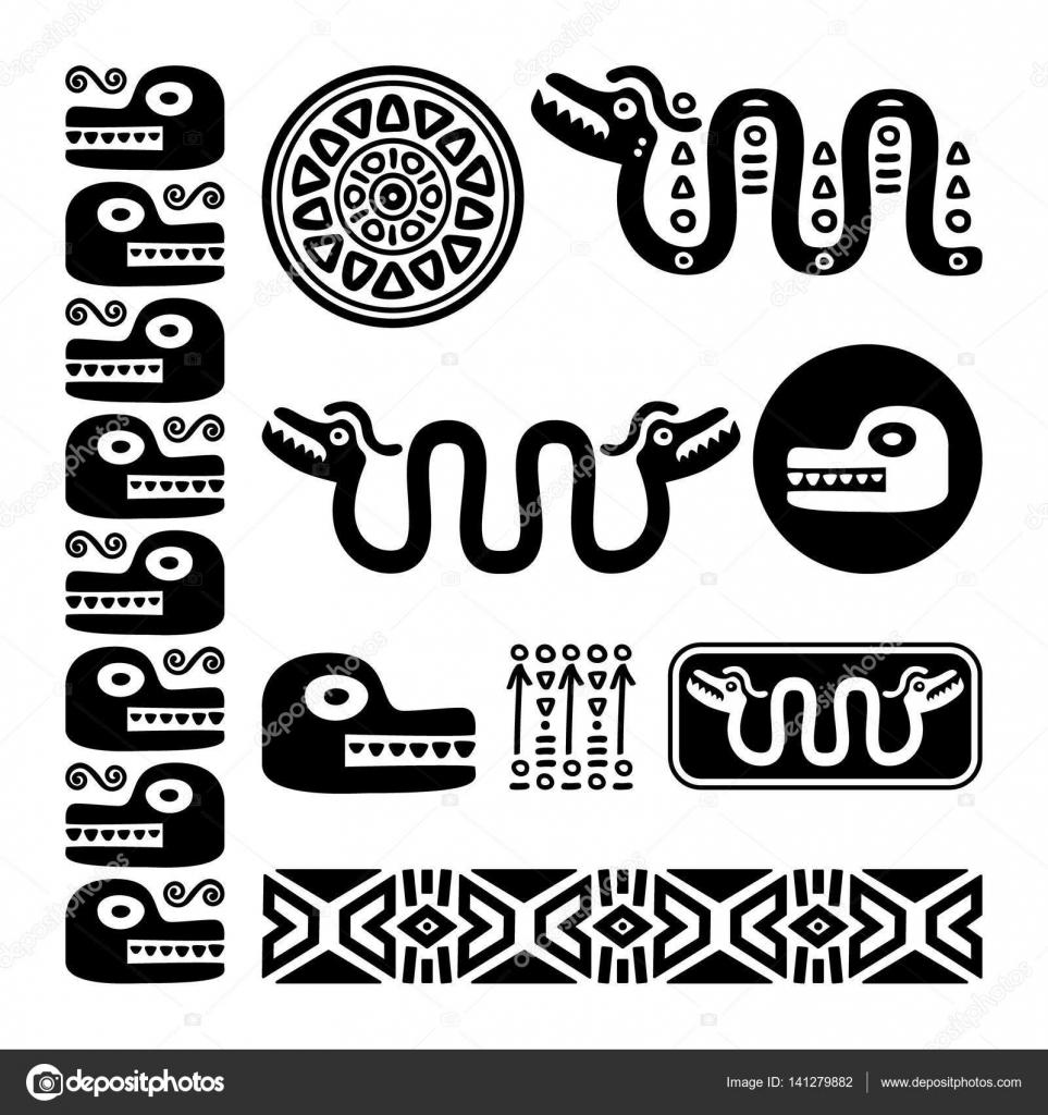 Aztec Animals Mayan Snake Ancient Mexican Design Set Stock