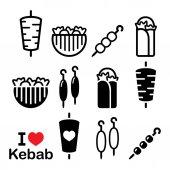 Döner kebab, kebab v zalamování řádků nebo pita chléb, šíš a adana kebab špejle ikony nastavit