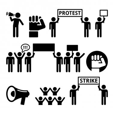 Protest, strike, people demonstrating or fighting for their rights icons set