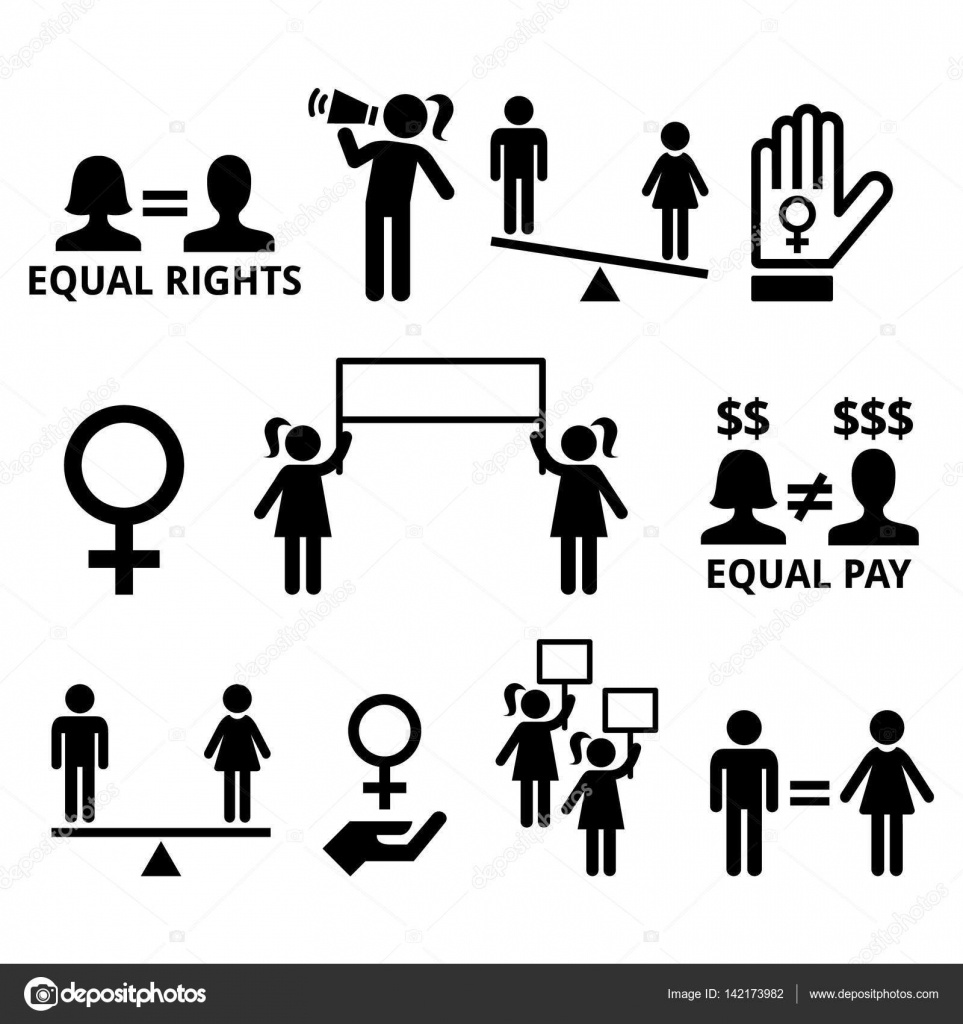 Womens rights feminism equal rights form men and women stock women fighting for equal rights in society women protesting vector icons set vector by redkoala buycottarizona Image collections