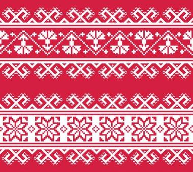Ukrainian or Belarusian folk art embroidery pattern in red an white