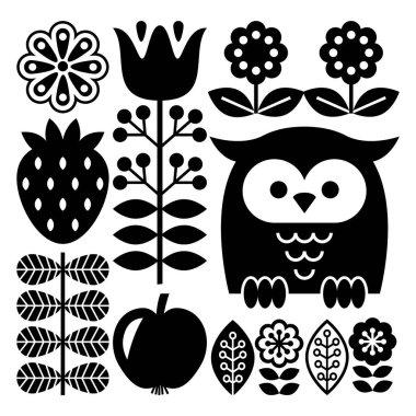 Finnish inspired folk art pattern in black - Scandinavian, Nordic style