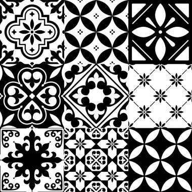 Spanish tiles, Moroccan tiles design, seamless black pattern