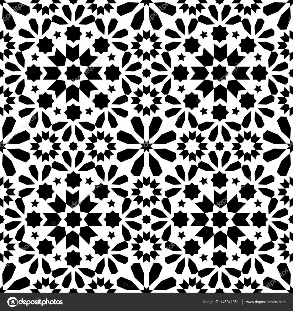 Vector of moroccan tile seamless pattern tile for design tile - Geometric Seamless Pattern Moroccan Tiles Design Seamless Black Tile Background Stock Vector