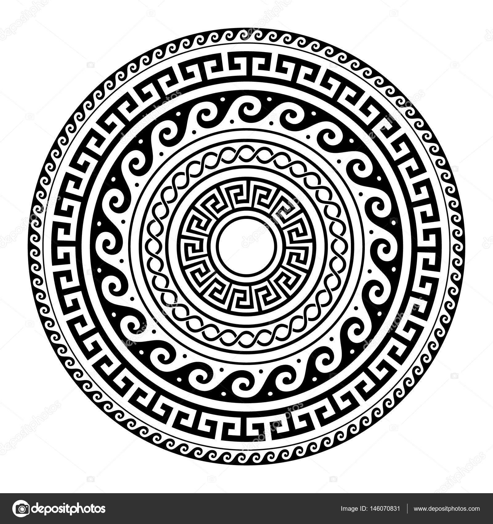 Ancient Greek Round Key Pattern Meander Art Mandala Black Shape