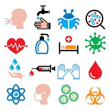 Infection, virus, sickness, getting flu icons set