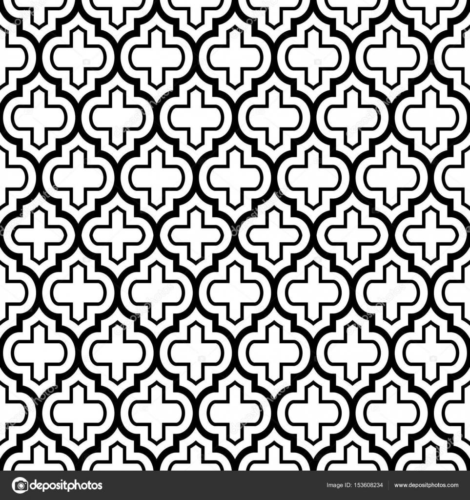 Geometrische Musterdesign, marokkanische Fliesen Design, schwarzer ...