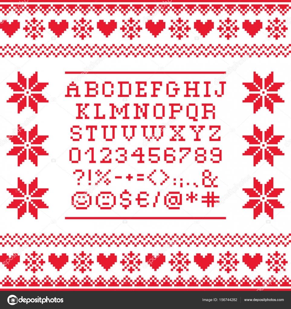 Punto de Cruz mayusculas abecedario con patrón de números y símbolos ...
