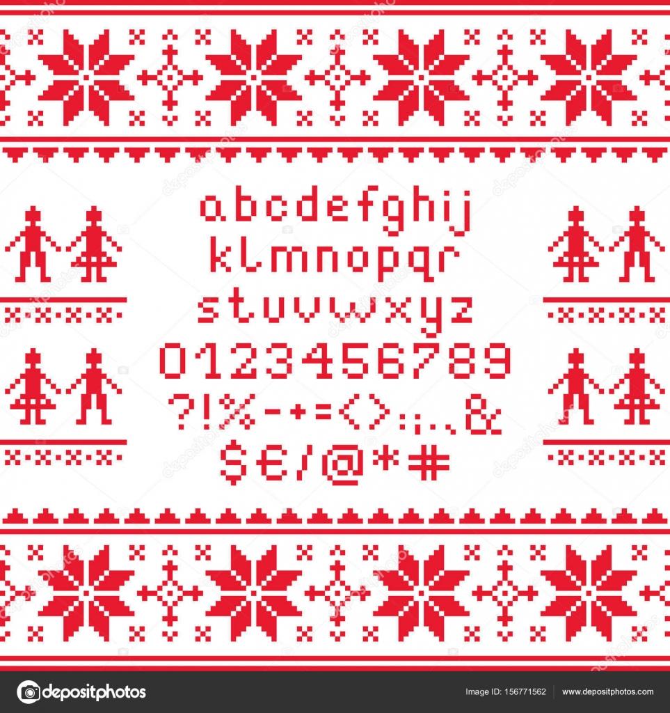 Punto Croce Minuscolo Alfabeto Con Numeri E Simboli Modello Disegno