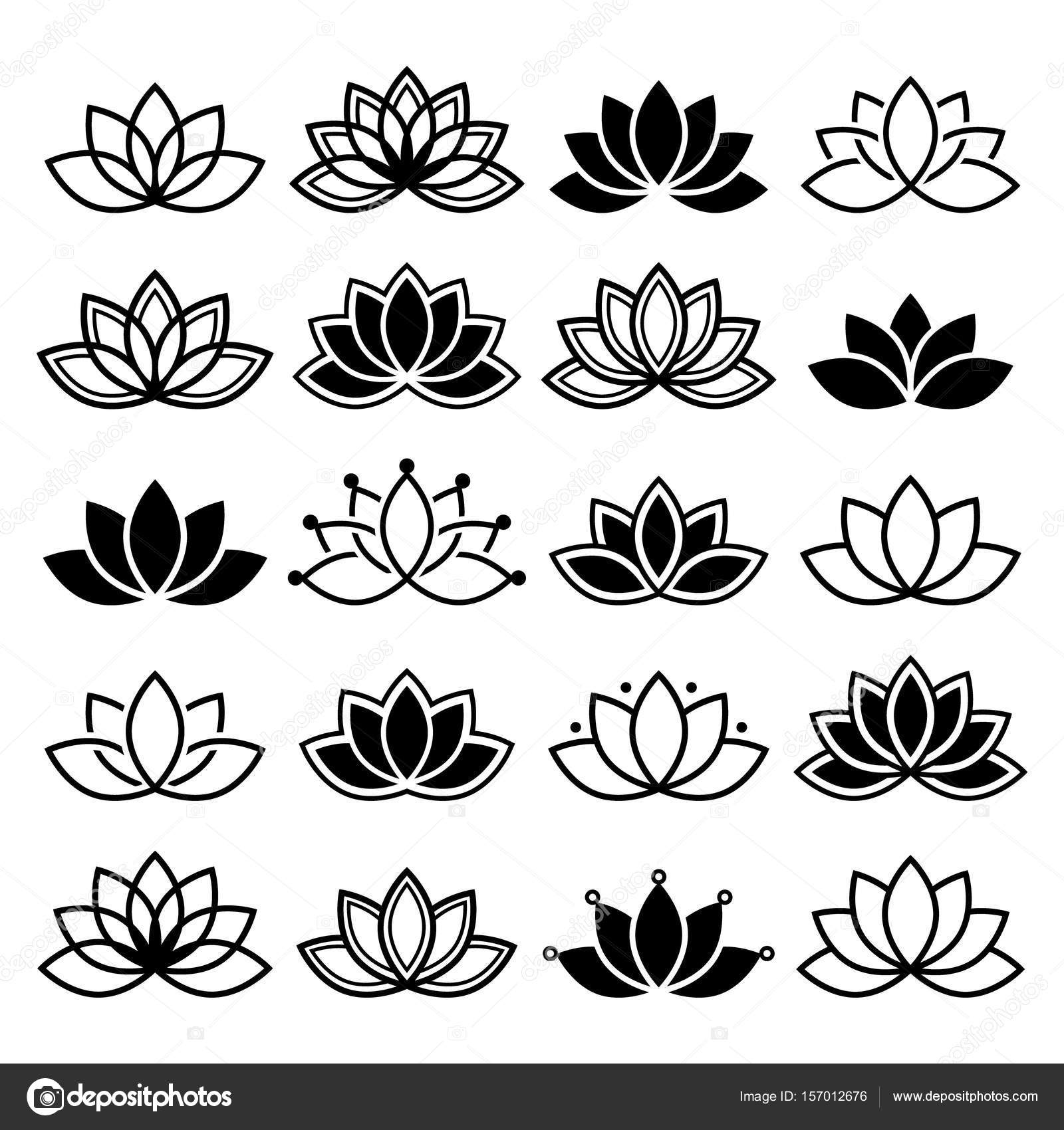 Lotus Flower Design Set Yoga Vector Abstract Collection Stock