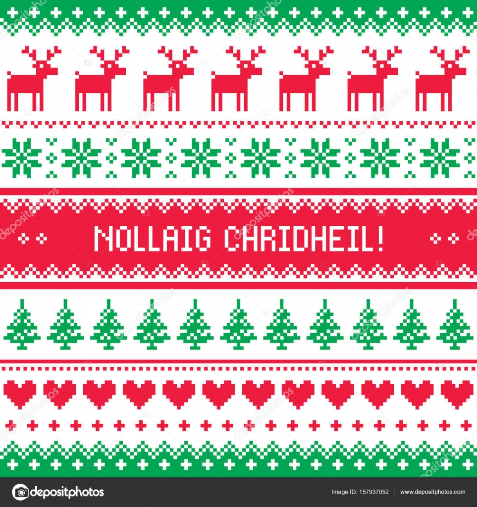 merry christmas in scottish gaelic greetings card seamless pattern stock vector - Merry Christmas In Gaelic
