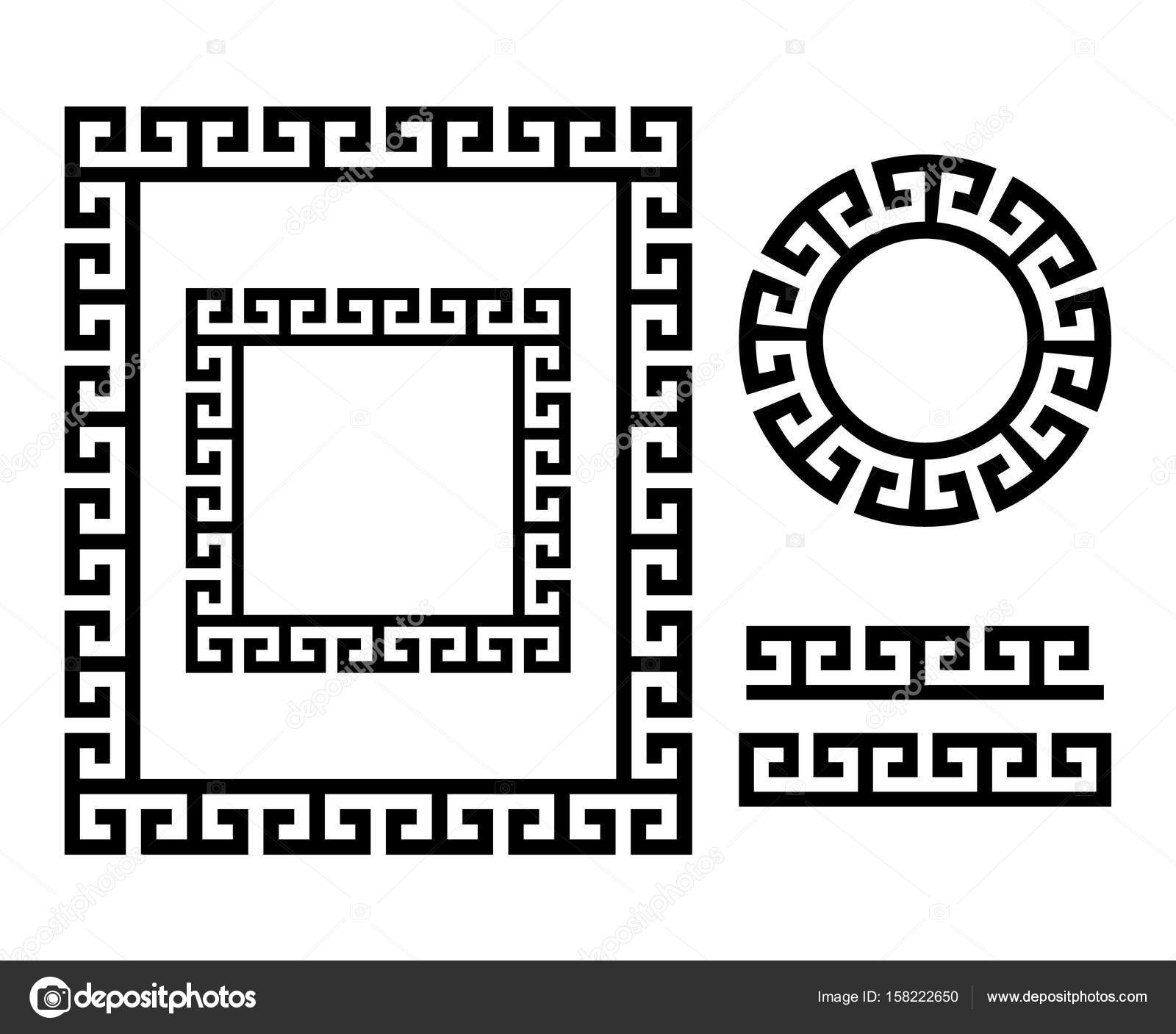 Ancient greek frame and border key pattern form greece stock vector repetitive design in circle and square greek vase patterns isolated on white vector by redkoala reviewsmspy