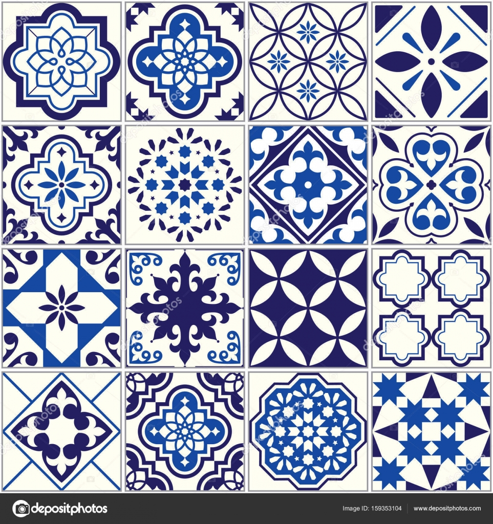 Vector tile pattern, Lisbon floral mosaic, Mediterranean seamless ...