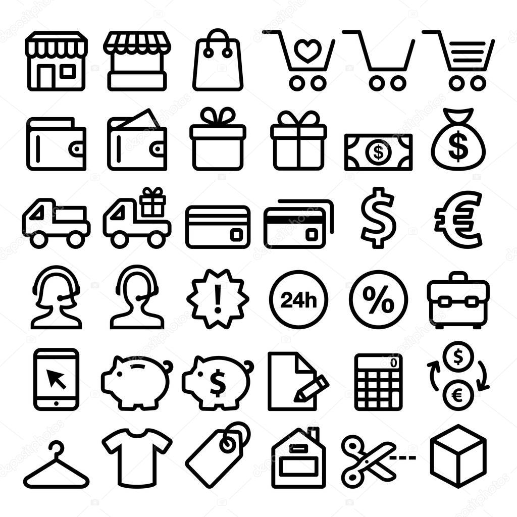 b3d6182fcd Shopping Riga icone insieme, acquisti online, negozio minimalisti simboli -  big pack — Vettoriali Stock © RedKoala #163070704