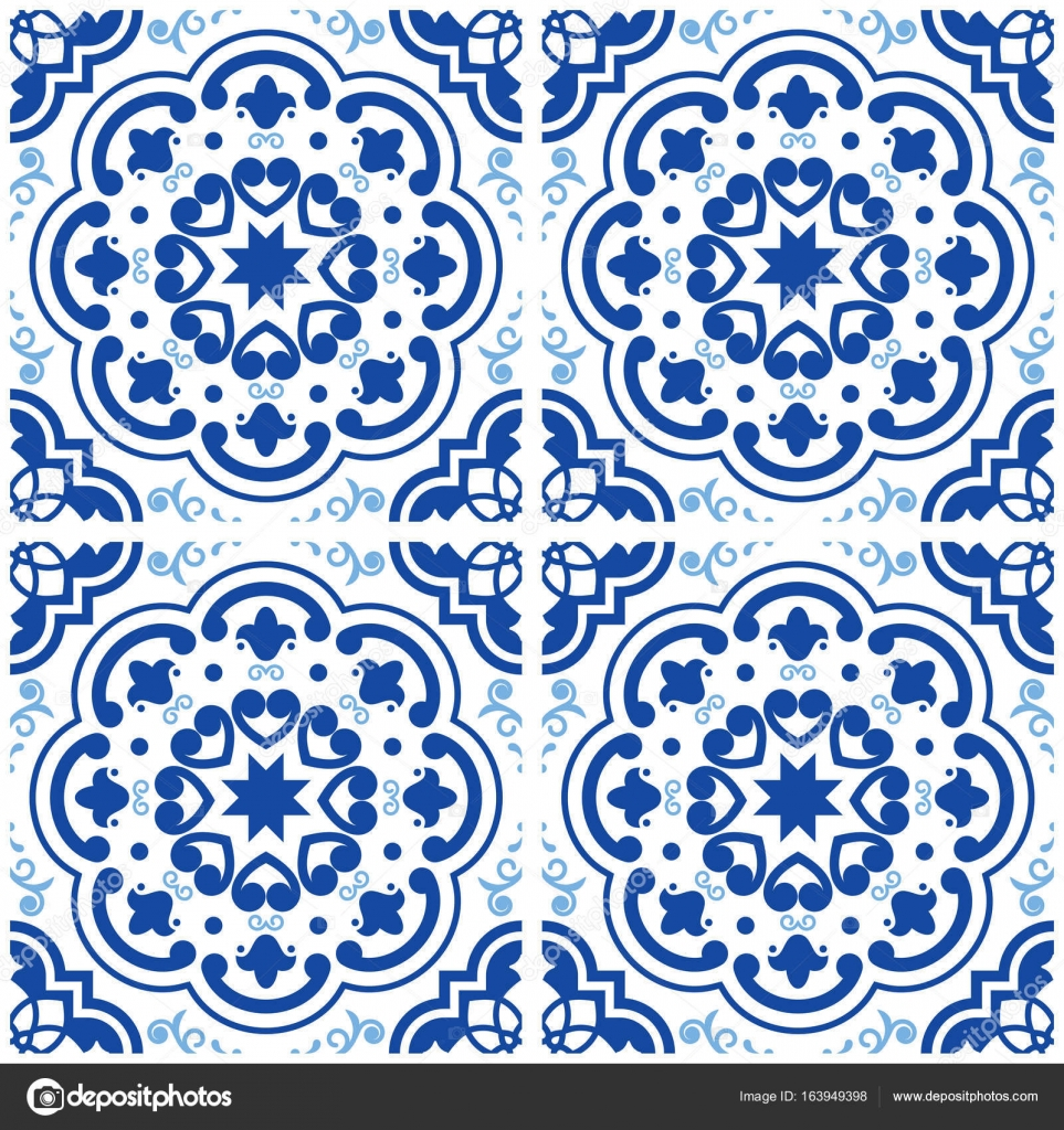 Azulejos Portuguese tile floor pattern, Lisbon seamless indigo blue ...