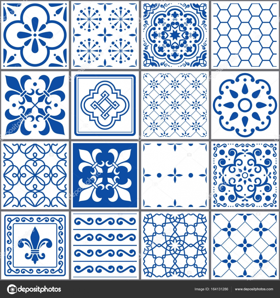 Portuguese tiles pattern, Lisbon seamless indigo blue tiles ...