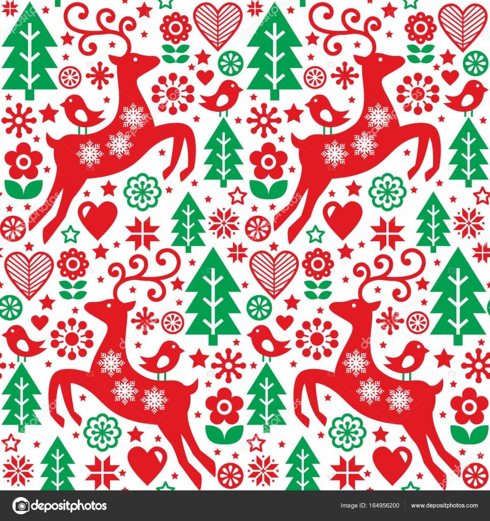 folk rot und grün nahtloser Vektor Muster skandinavischen