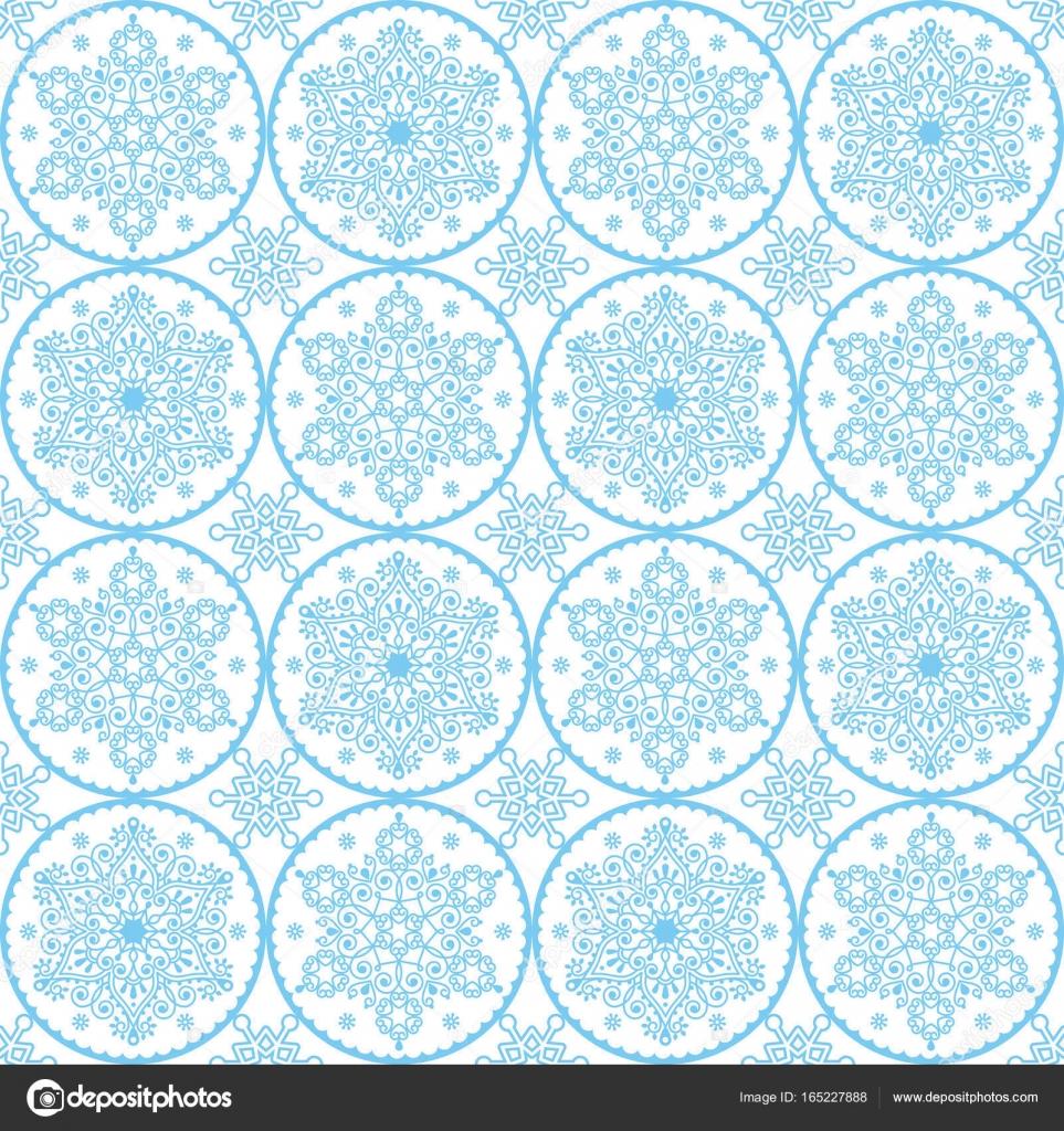 Noël Vector Art Populaire Bleu Flocons Sans Couture
