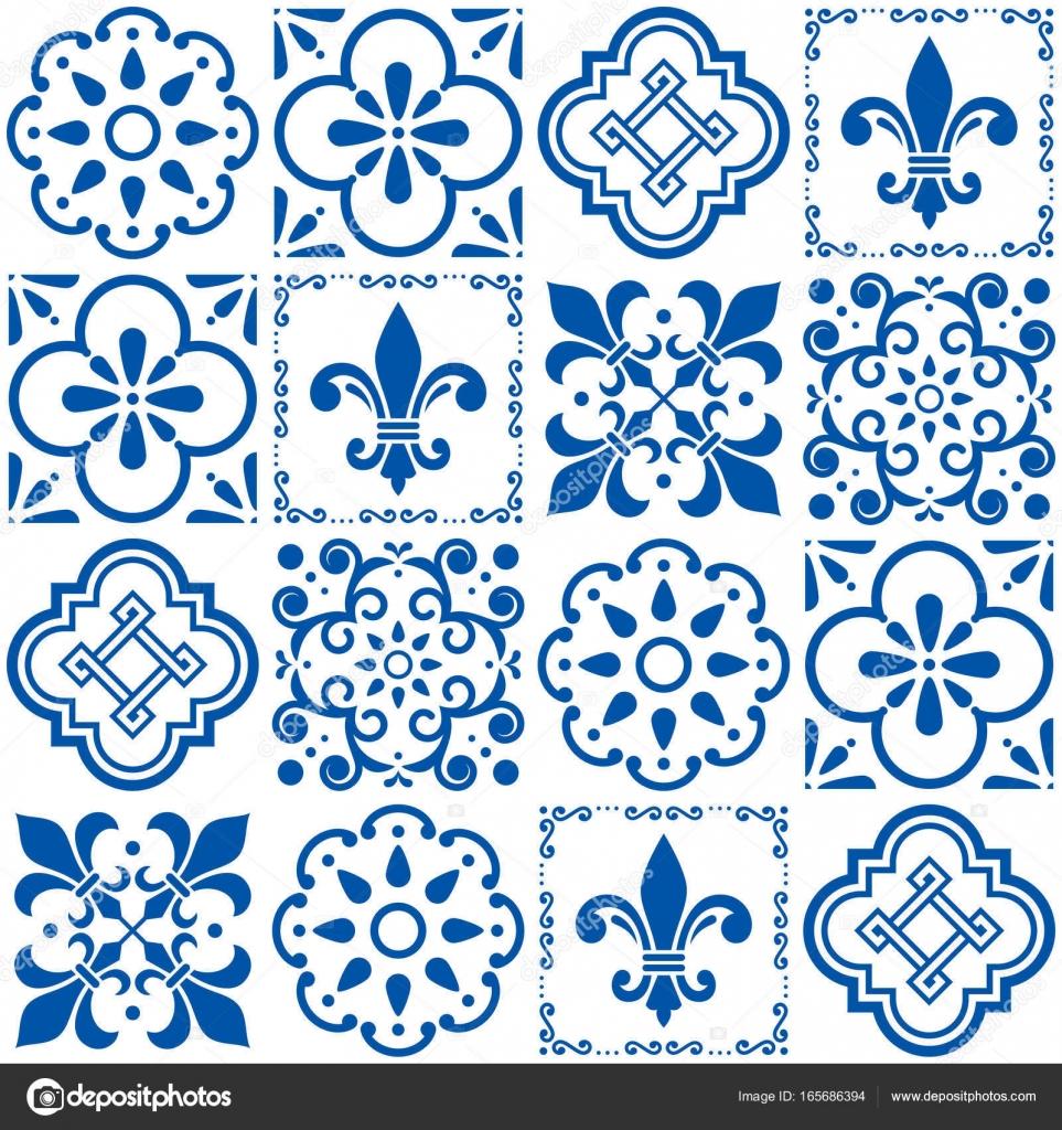 Portuguese vector tiles pattern, Lisbon seamless indigo blue tile ...