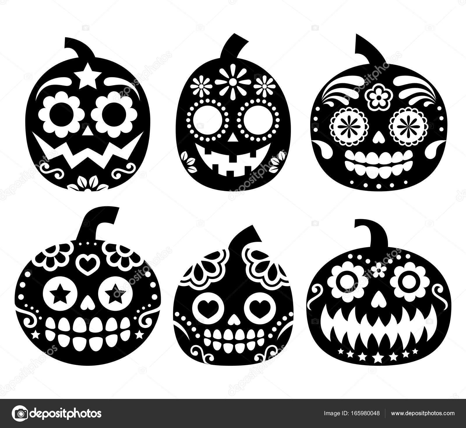 Halloween Pumpkin Vector Desgin  Mexican Sugar Skull Style Dia De