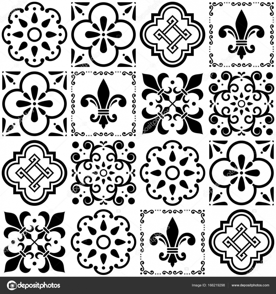 Portuguese vector tiles pattern, Lisbon seamless black and white ...