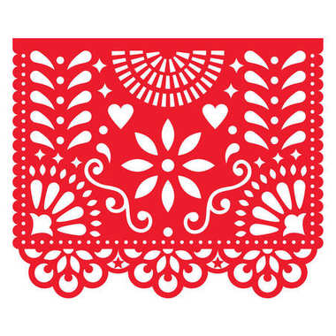 Cut out template with flowers and leaves, festive floral composition in red isolated on white clip art vector