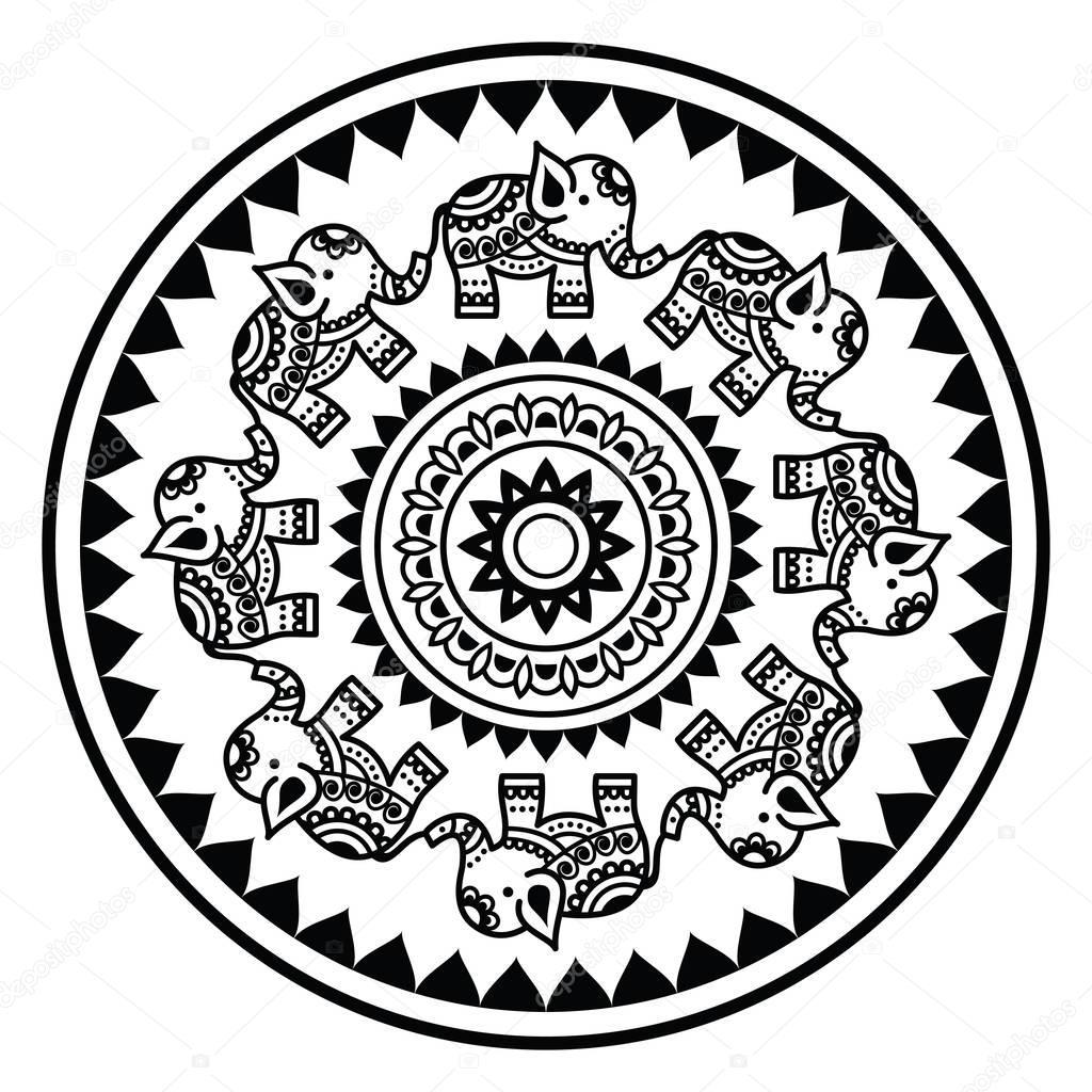 Indian mandala with elephants and abstract shapes, Mehndi ...