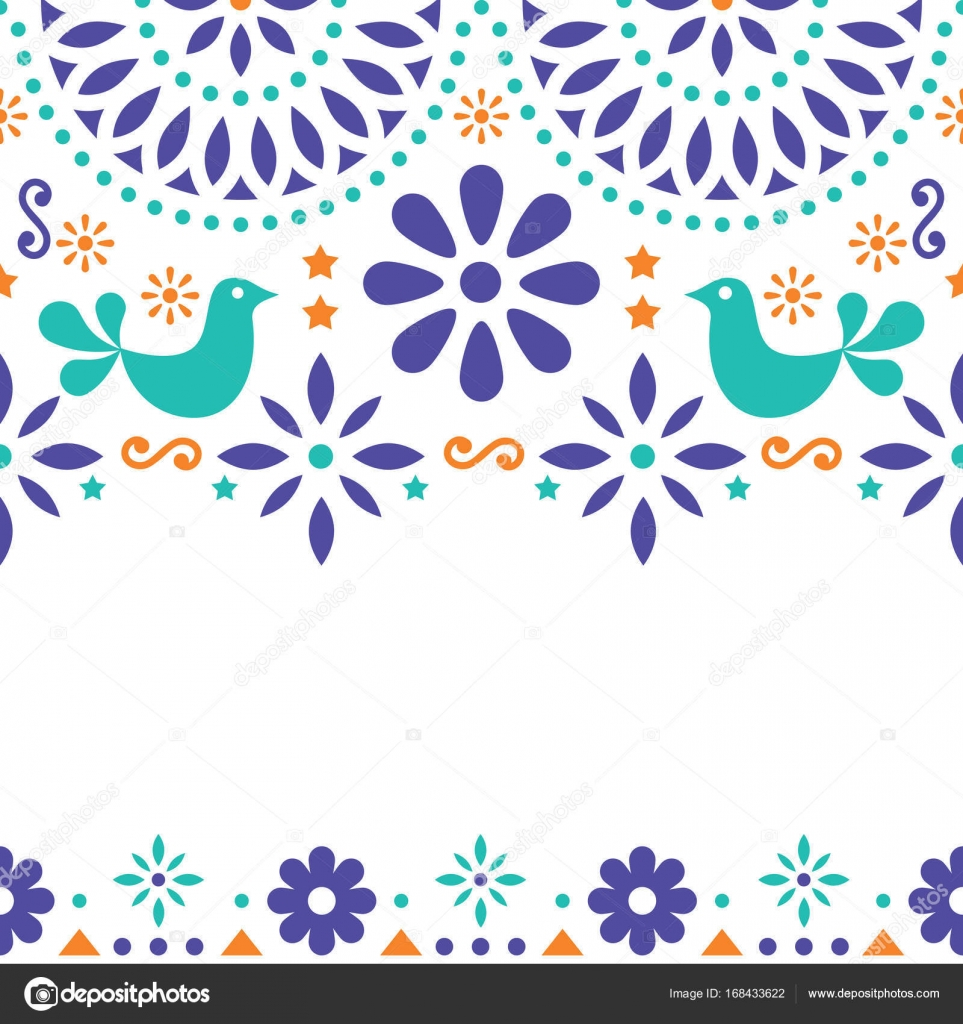 Mexican folk art vector greeting card retro wedding or party cute design inspired by traditional art from mexico flowers birds and abstract shapes on white background vector by redkoala stopboris Image collections