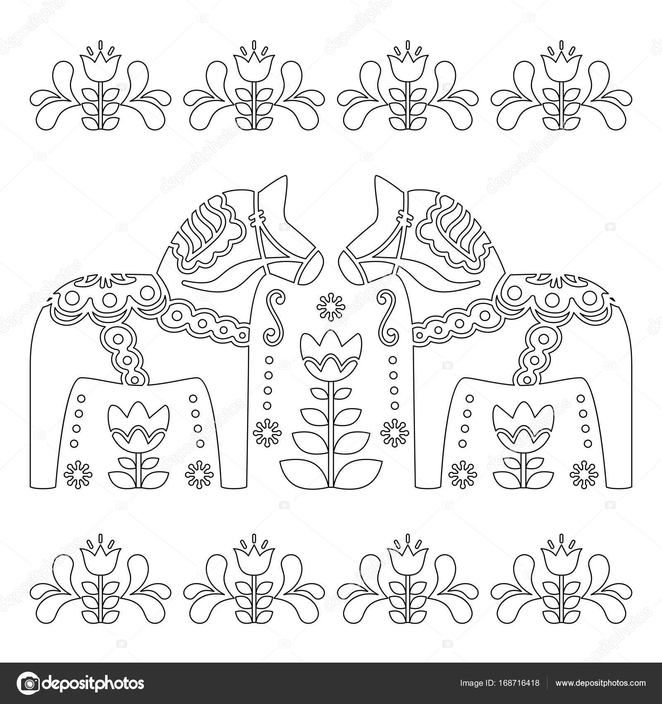 Kleurplaten Voor Volwassenen Paarden.Scandinavische Overzicht Vector Design Zweedse Dala Of Teken Paard