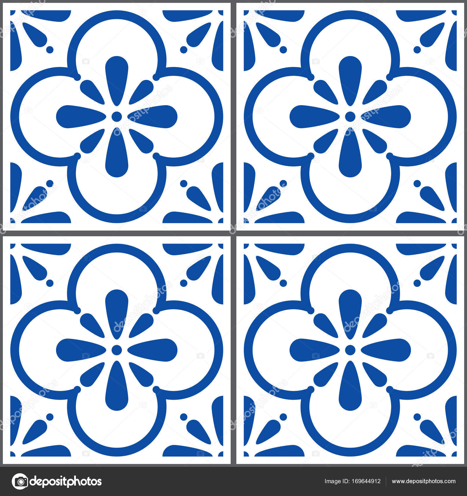 Portuguese tiles pattern, Lisbon seamless navy blue tiles, Azulejos ...