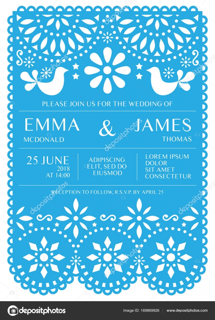 Wedding Invitation Vector Card Template Mexican Folk Papel Picado