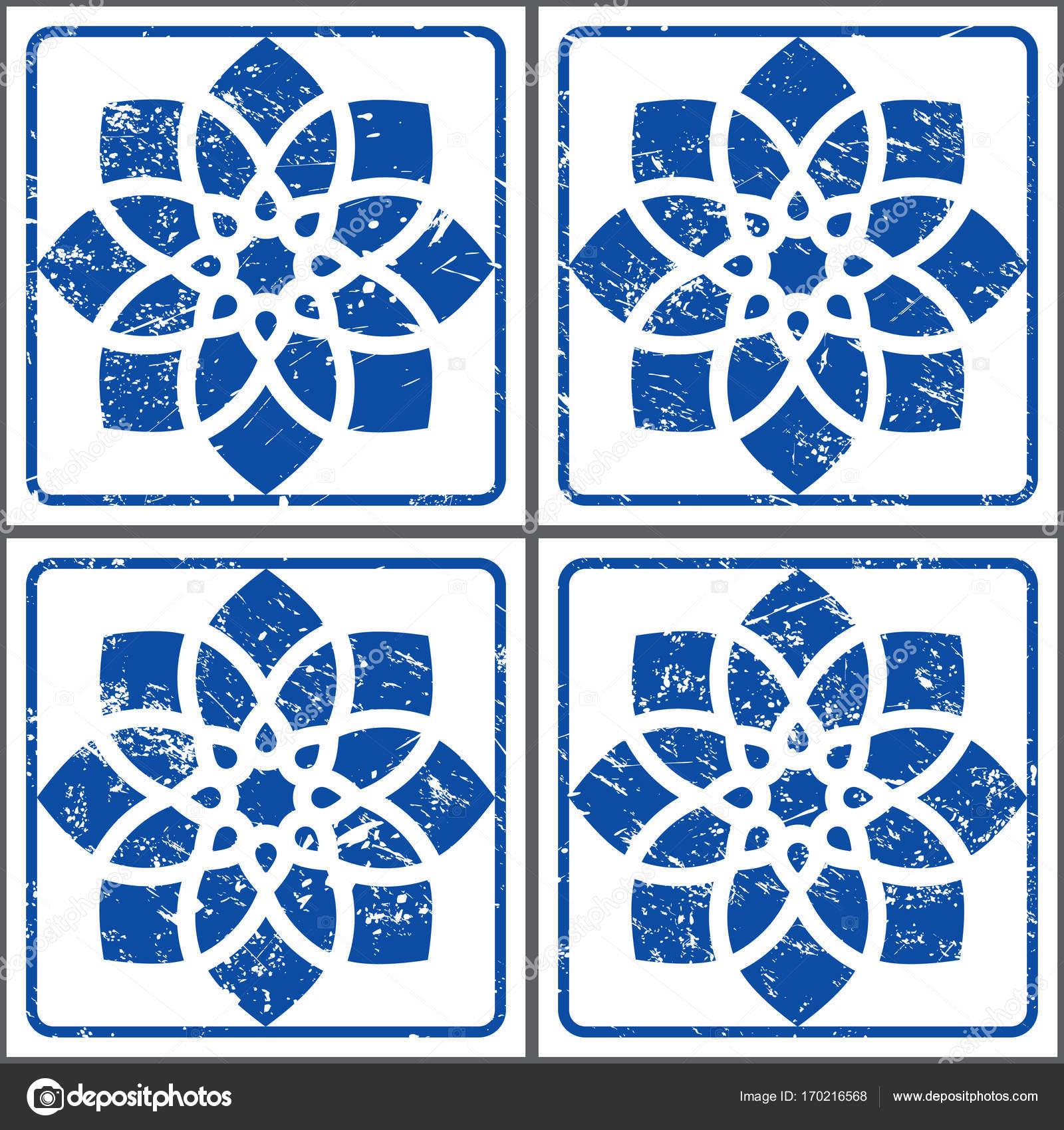 Azulejos retro vector tiles pattern, Portuguese seamless blue tiles ...