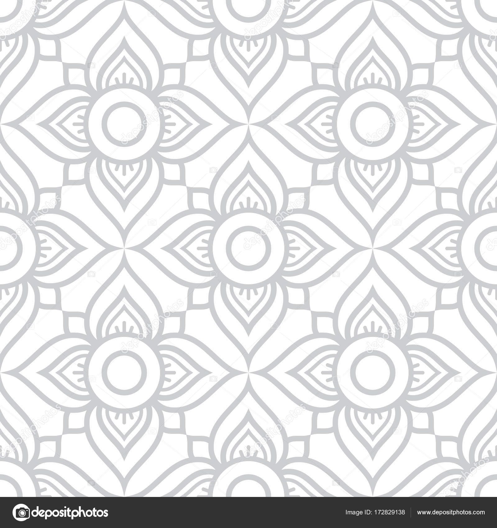 Thai Flowers Seamless Vector Pattern Grey Floral Repetitive Design