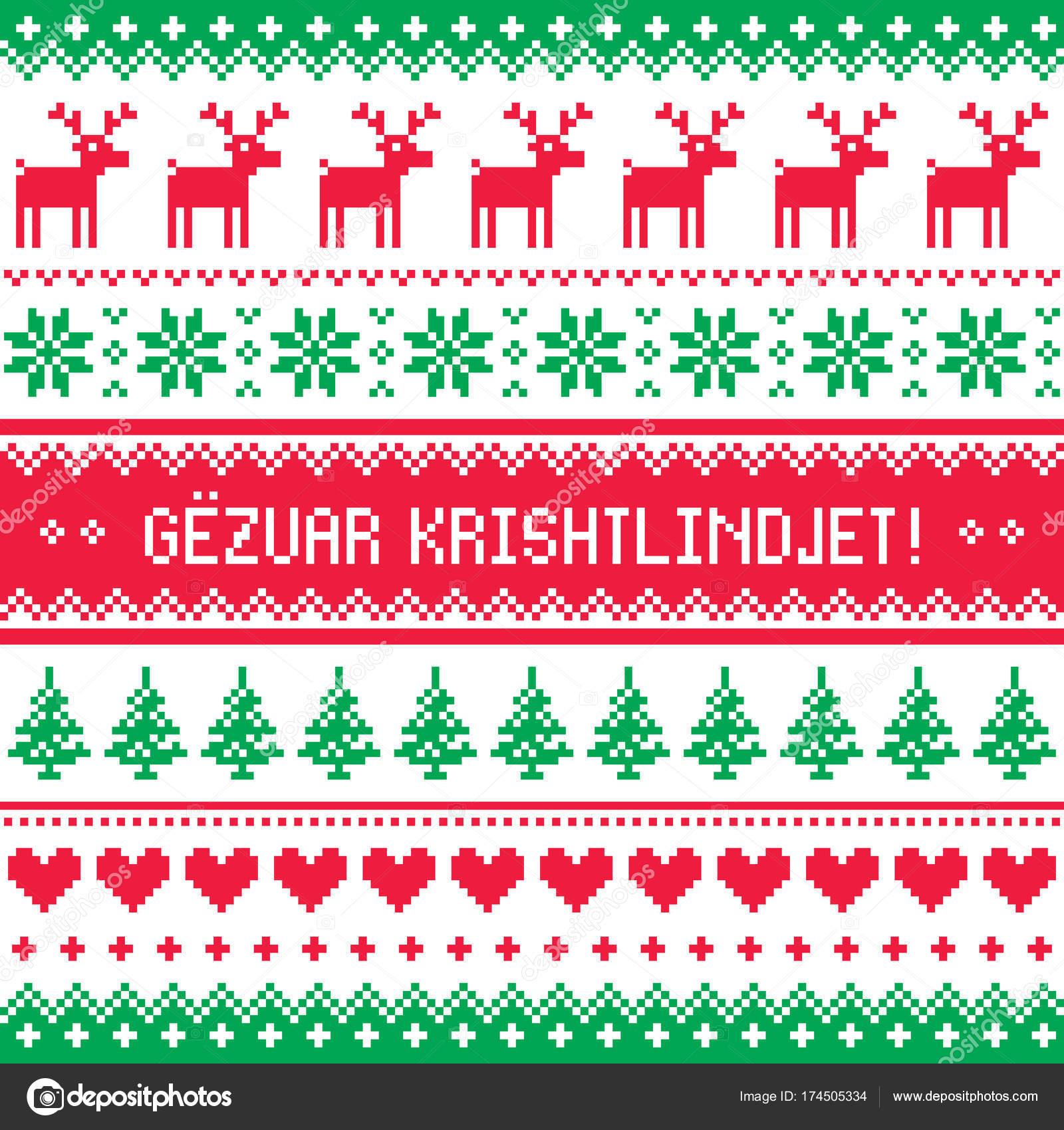 Auguri Di Natale In Albanese.Gezuar Krishtlindjet Inverno Rosso E Verde Carta Gretting Per