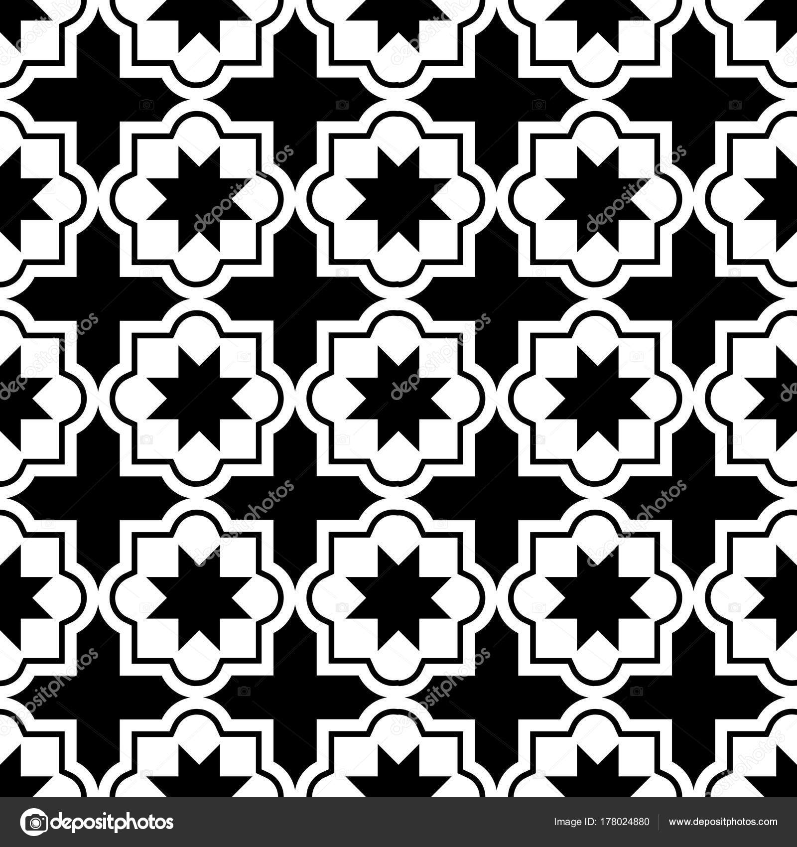 Moroccan Tiles Design Seamless Black White Pattern Geometric