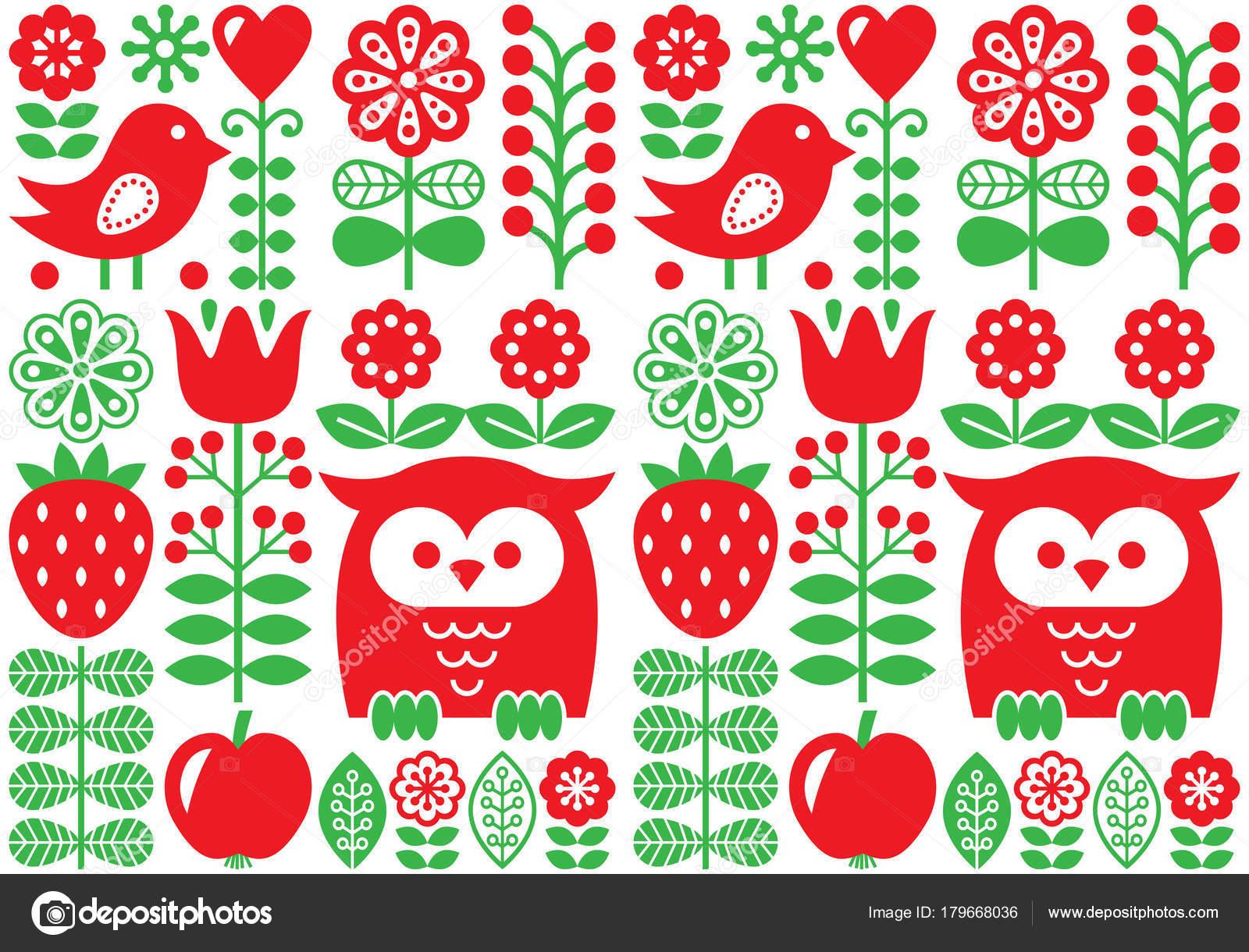 Finnischen Inspiriert Nahtlose Volkskunst Vektormuster   Skandinavisches  Design, Nordische Tapeten Mit Blumen Und Vögel U2014 Vektor Von RedKoala