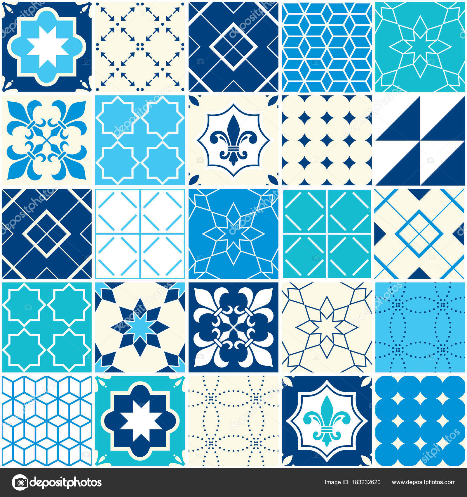 Seamless Blue Vector Tile Pattern Azulejos Tiles Portuguese ...