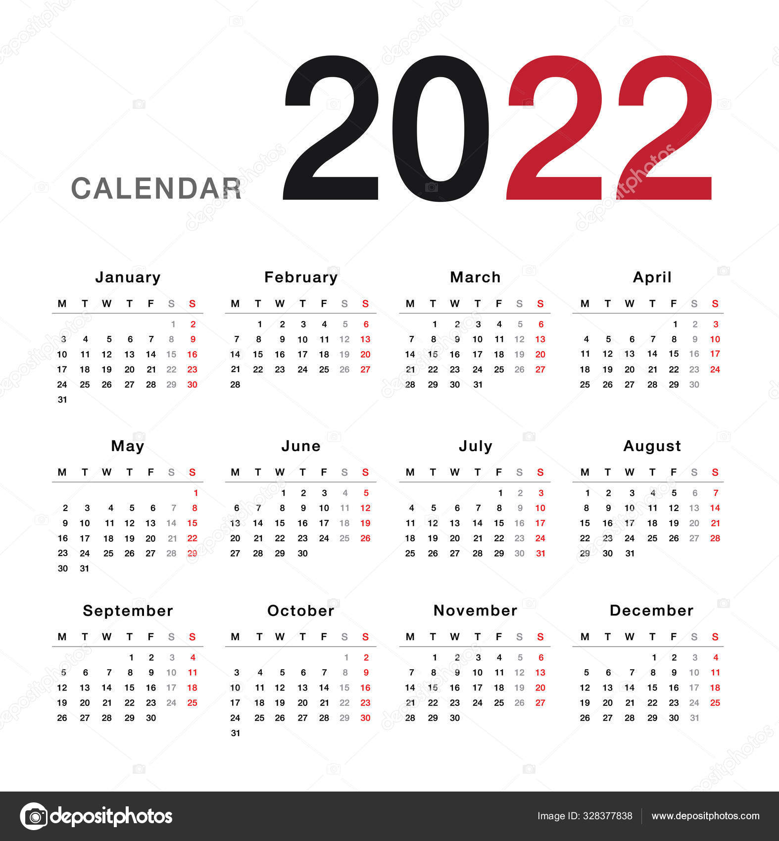 Utk Spring 2022 Calendar.Colorful Year 2022 Calendar Horizontal Vector Design Template Simple Clean Vector Image By C Kckate16 Gmail Com Vector Stock 328377838