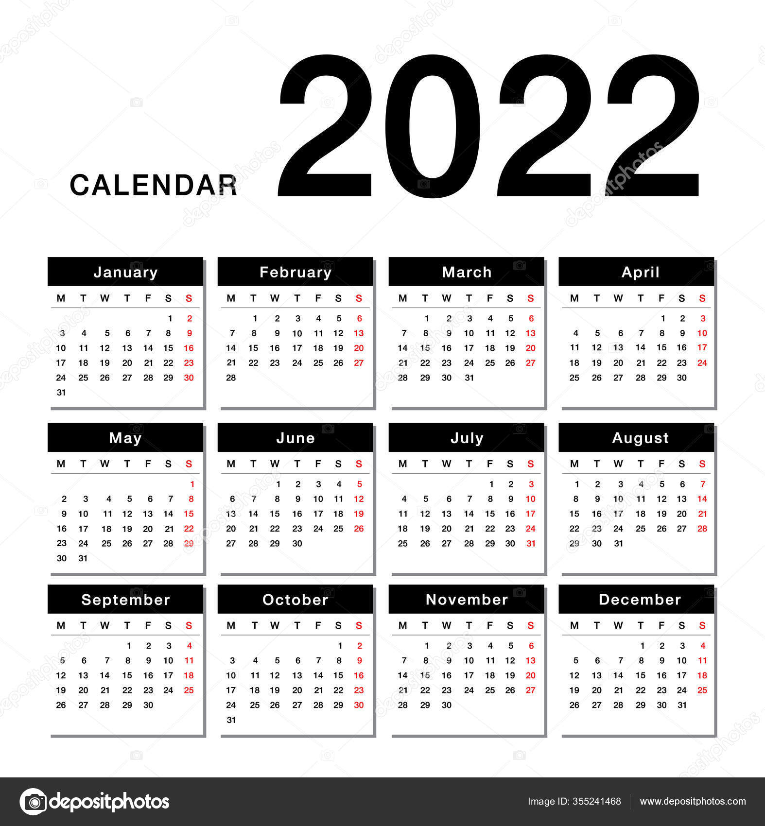 Utk Spring 2022 Calendar.Year 2022 Calendar Horizontal Vector Design Template Simple Clean Design Vector Image By C Kckate16 Gmail Com Vector Stock 355241468