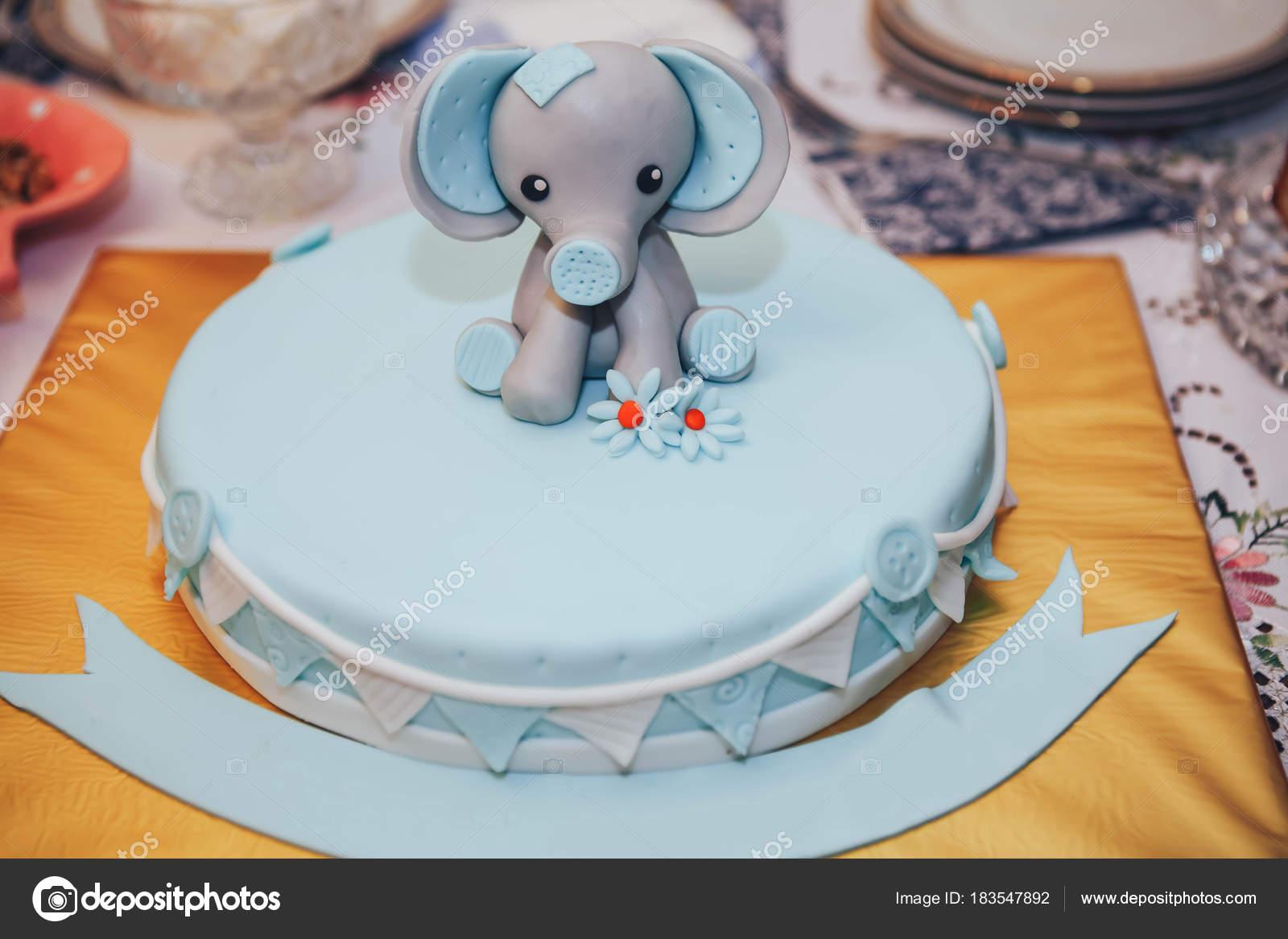 Niños 27S Pastel Cumpleaños Con Elefante — Fotos de Stock ...