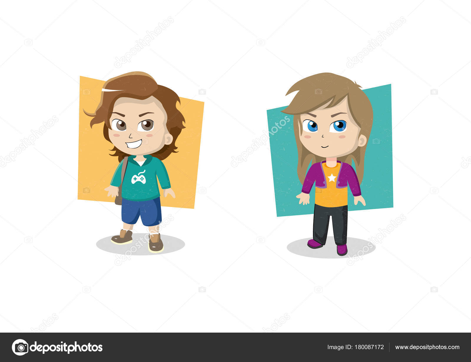 Two Vector Characters Gamer Boy Long Hair Cute Girl Blue Stock