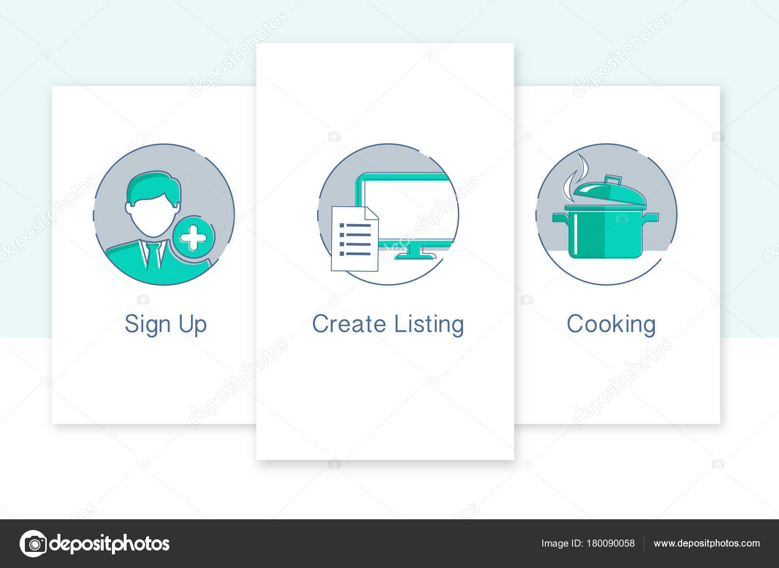 Web Iconos Registrarse Crear Una Lista Cocina Conjunto Diseño Web ...