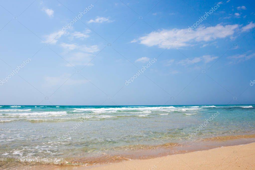 Sand sea beach on sunny day
