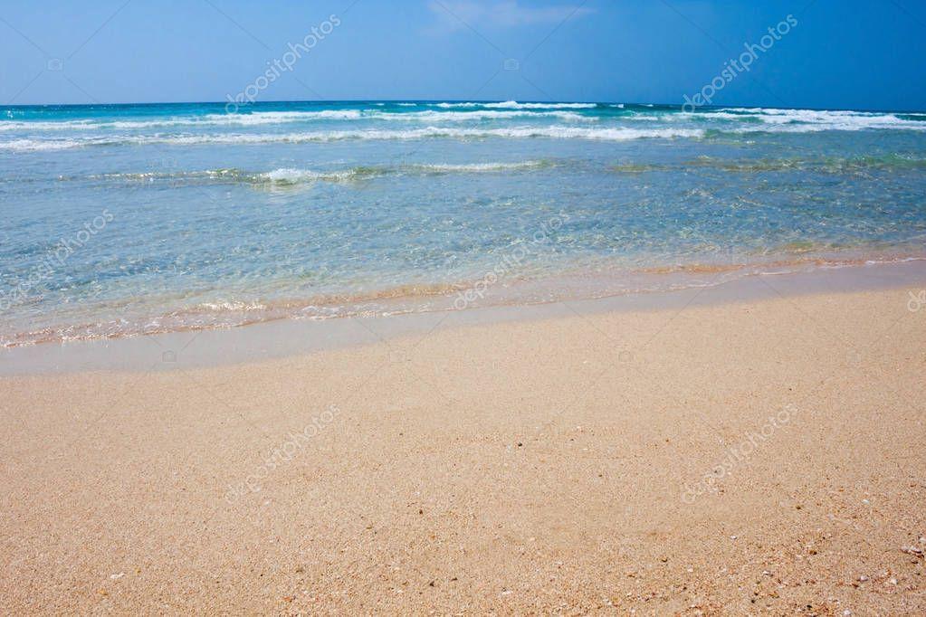 Sand sea beach on a sunny day