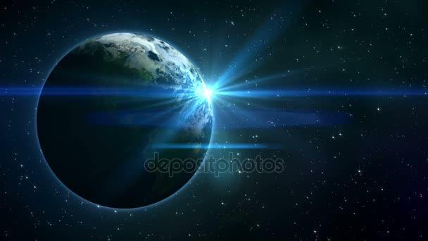 zářící hvězdy a planety země ve vesmíru