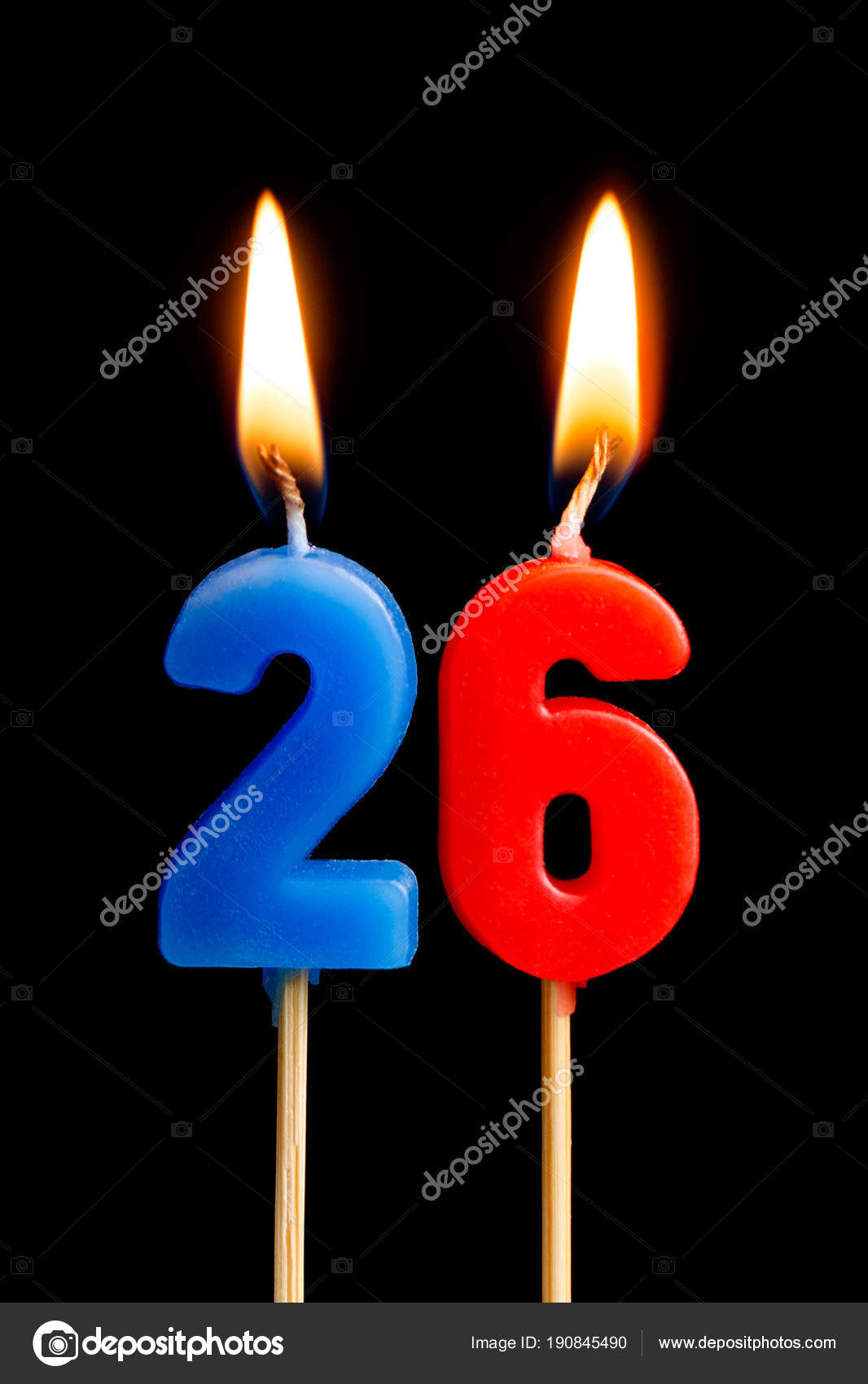 Burning Candles In The Form Of 26 Twenty Six Numbers Dates For